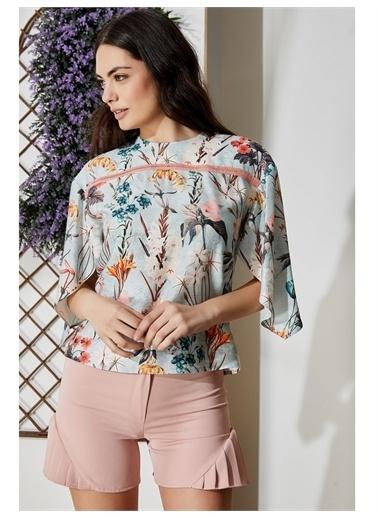 Vekem-Limited Edition Sıfır Yaka Çiçek Desenli Bluz Turkuaz